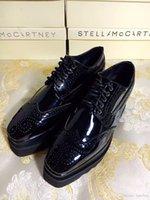 couro miami venda por atacado-Baratos Stella Mccartney Miami Stars Sapatos Estilo Borque Preto Couro Envernizado com Preto Sole Low Top
