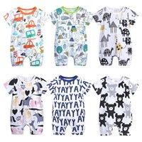 tierdruck für babys großhandel-Ins Baby Mädchen Kleidung Babykleidung Overalls Cartoon Scrawl Unicorn Tiere Druckbuchstaben Strampler 100% Baumwolle weich atmungsaktiv 3M 6M 9M
