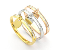 Wholesale 18k gold bangles for sale - Group buy Fashion with box love charm bracelet pour hommes bangles pulsera for mens and women Party wedding lovers gift ankle stainless steel jewelry