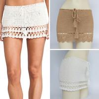 bayan el yapımı bikini toptan satış-Şık El Yapımı Pamuk Tığ Mini Etekler Kadınlar Yaz Yüksek Bel Bow Tie Etek Ladies Beach Bikini Bottoms