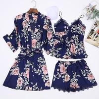 pantalon floral en soie achat en gros de-atin Pijamas Robe de pyjama en soie avec imprimé floral 3PC Suit avec plastrons thoraciques Lingerie Shorts Pants