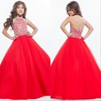 halter tül küçük kız elbisesi elbise toptan satış-Sparkly Kızlar Pageant Gençler Halter Tül Kat Uzunluk Rhinestone Küçük Kızlar için Elbiseler Balo Parti Elbiseler