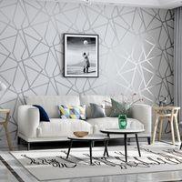 Grau Geometric Wallpaper für Wohnzimmer Schlafzimmer Grau Weiß Gemusterte  Modernes Design-Wand-Papier-Rolle Wohnkultur