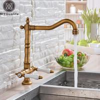 Wholesale antique brass kitchen handles resale online - Antique Brass Dual Handle Kitchen Faucet Deck Mounted Ceramic Handle Kitchen Sink Tap Swivel Spout Hot Cold Water Kitchen Mixer
