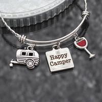 ingrosso camper di rimorchio-Braccialetto felice del campeggiatore 8pcs / lot, regalo di campeggio, regalo di glamping del regalo dei monili del braccialetto regolabile dell'acciaio inossidabile di fascino del rimorchio di viaggio