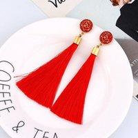 Wholesale tibet silk resale online - Ladies stylish earrings long style crystal tassel earrings temperament women rose Silk Fabric drop dangle tassel earring