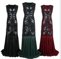 5bccaccd88e dunkelgrünes maxi prom kleid großhandel-Frauen der 1920er Jahre Perlen  Pailletten Floral Maxi Lang Gatsby