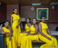Wholesale one shouldered long bridesmaid dresses resale online - 2019 Cheap Yellow One Shoulder Bridesmaid Dresses African Sexy Mermaid Prom Evening Dress Long Formal Wedding Guest Gown Custom Made