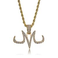 14k weißgoldketten großhandel-Neue Benutzerdefinierte Iced Out Majin Anhänger Halskette Herren Weiß Und Gold Finish Ketten Hip Hop Schmuck Gold Silber Farbe Charme Mann Frauen Geschenk