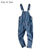 diseños de jeans bolsillo al por mayor-Nuevo 2019 Moda Diseño Vintage Bolsillo Rayado Jeans Denim Overol Men Casual Wash suelto Bib Overol Jeans Hombre mono largo