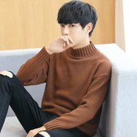 suéter de moda chico coreano al por mayor-Otoño Moda Niños Suéteres Suéter coreano Tallas grandes Cuello alto Hombres Top acanalado Manga larga Jersey grueso Hombre Lindo prendas de punto