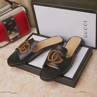 ingrosso designer bianco dei sandali del vestito bianco-Nuove donne di arrivo Luxury G Ace Designer Pantofole nero bianco rosso in pelle Lady Fashion Sandali vestito Slipper infradito con scatola