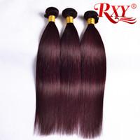 99j kırmızı şarap insan saçı toptan satış-RXY 99j Bordo Perulu Saç Demetleri 3 Adet Düz İnsan Saç Paketler 99j Şarap Kırmızı Perulu Düz Saç Atkı 10-26 Inç