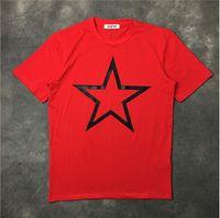 grandes estrelas vermelhas venda por atacado-Homens Preto Grande Estrela T Camisas Hip Hop Skate Street Designer De Algodão Vermelho T-Shirts Tee Top