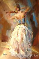 nackte leinwanddrucke großhandel-Handbemalte HD Kunstdruck schöne impressionistische Mädchen mit ihrer Geige Ölgemälde auf hochwertige Leinwand Home Wall Decor Multi Größe p06
