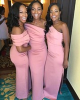 Wholesale long train red dress for sale - Group buy African Pink One Shoulder Satin Long Bridesmaid Dresses Ruched Side Split Sweep Train Wedding Guest Maid Of Honor Dresses BM1560