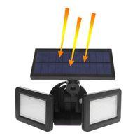 sécurité des détecteurs extérieurs achat en gros de-Lampe solaire à LED Étanche à la lumière solaire Pir 60 LED PIR Détecteur de mouvement porte lumière murale lampe de mur extérieur de sécurité Spot Lighting48LEDs Dual He