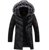 parkas de luxo venda por atacado-Mens Designer Sólidos Parkas Moda Thick Plus Size Inverno Jacket luxo Faux Fur Collar Mens Coats