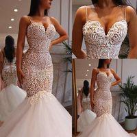Wholesale custom wedding dress patterns resale online - Sexy Spaghetti Straps Mermaid Wedding Dresses Sweetheart Nude Lining Lace Pattern Beads Bridal Gowns Vestido De Novia