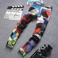 bisikletçiler motosiklet giysileri toptan satış-Erkek Kot Tasarımcı Düz Motosiklet Biker Bayrak Kot Streetwear Stil Renkli Bayrak Skinny Denim Pantolon Giyim Toptan
