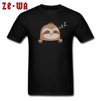 bolsillo de la camisa para hombre negro al por mayor-Día del padre Camiseta para hombre Tops Camisas Lindo dormir Perezoso Mangas altas Camisetas de alta calidad Todo el algodón de cuello redondo Ropa Negro