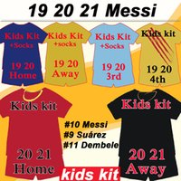 camisetas de fútbol para niños messi al por mayor-19 20 MESSI Griezmann Kids kit del fútbol jerseys Rakitic SUAREZ PIQUE hogar lejos camisetas de fútbol DE JONG DEMBELE F. DE JONG RAFINHA Traje