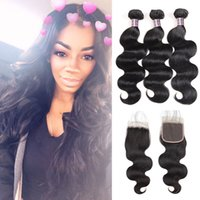 Wholesale human hair for sale - Ishow human hair bundles with closure A Brazilian Hair Body Wave With x4 Lace Closure Unprocessed Virgin Human Hair Extensions