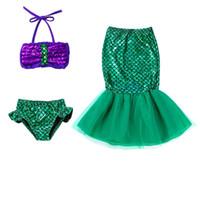 Wholesale mermaid tail dress split resale online - Children Mermaid Tail Princess Dress Baby Girls Kids Bathing Split Swimsuit Costume Swimwear Bikini Fancy Dress For Y