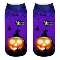 Wholesale womens sock for sale - Group buy Print Womens Socks Designer Bat Pumpkin Castle Socks Casual Couple Matching Short Hosiery Halloween Element D