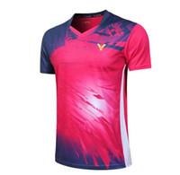 tischtennis kurz t-shirt großhandel-New 2019 Victor Badminton tragen T-Shirt, Malaysia Wettbewerb Badminton Kleidung Männer Frauen Kleidung Jersey Schnell trocknend Tischtennisshorts