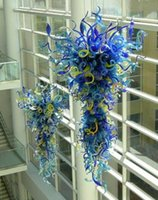 galerias de iluminacion al por mayor-Lámpara de vidrio soplado 100% a mano Lámparas LED Lámparas de hogar moderno Hotel Galería Arte Araña de cristal de diseño decorativo