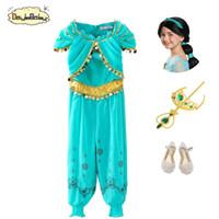 hint halloween kostümleri toptan satış-Daylebaby Kızlar Aladdin'in Lambası Yasemin Prenses Kostümleri Cosplay Çocuklar için Cadılar Bayramı Partisi Oryantal Dans Elbise Hint Prenses