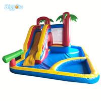 châteaux d'eau achat en gros de-3 dans 1 trampoline de château plein d'entrain de glissière d'eau gonflable de qualité marchande avec la piscine de boule