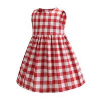 gilet rouge pour les filles achat en gros de-Détail filles robes bébé fille plaid rouge sans manches à volants coton gilet jupe enfants robe de princesse jupes occasionnels enfants vêtements de créateurs