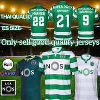weißer fußball kurz großhandel-19 20 Sporting Lissabon Hauptfußball Jerseys weg 4 grün # COATES # 9 ACUNA Fußball-Hemden weiße kurze Hülse Fußballbekleidung NEU