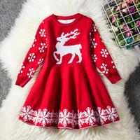 vestido floral de manga larga rojo al por mayor-Nuevo vestido de la princesa niña de invierno 2019 ciervos de la Navidad de manga larga vestido rojo azul UPS vestido de los niños engrosadas