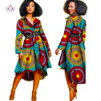 bazin tuch großhandel-2019 neue Frauen des Herbstes Art und Weise Umlegekragen Bazin Riche dashiki Mantel für Frauen Baumwolltuch neue afrikanische Frauenkleidung WY1051