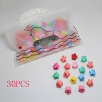 Wholesale jaw claw hair clips resale online - 30pcs Bag New Baby Girls Small Hair Claw Cute Candy Color Flower Blossoms Jaw Clip Children Hairpin Hair Accessories