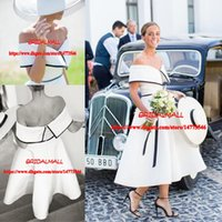 Wholesale cheap custom wedding dresses for sale - Tea Length Simple Beach Boho Wedding Dresses Off the Shoulder Bridal Gowns Cheap Garden Bride Dress Plus Size Custom Vestidos De Novia