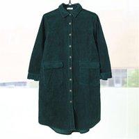 плюс размер зеленый рубашка-поло оптовых-Зима женщины Поло воротник свободные зеленая рубашка согреться однобортный с длинным рукавом блузка повседневная топ с карманом плюс размер