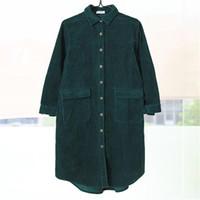 mais tamanho polo verde venda por atacado-Mulheres de inverno Polo Collar Solto Camisa Verde Manter Quente Único breasted Blusa de Manga Longa Casual Top Com Bolso Plus Size