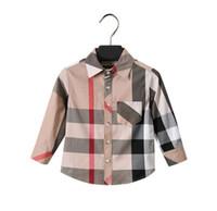 reine lange jacke großhandel-Kinderbekleidung Jacke Jungen Hemd aus reiner Baumwolle Gitter lange Ärmel Blusen unten