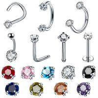 шпильки для пирсинга оптовых-1PC Steel CZ Gem Ear Helix Clicker Nose Screw Stud Piercing Navel Belly Piercings Nostril Earring Tragus Nariz Stud Ring Jewelry