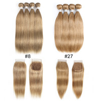 Wholesale 32 hair resale online - Ash Blonde Color Malaysian Indian Straight Human Hair Bundles With Closure Bundles With x4 Lace Closure Remy Human Hair Extensions