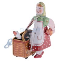 Wholesale vintage wind toys for sale - Group buy Vintage Peasant Woman Carrying a Basket Luggage Model Wind up Clockwork Tin Toy Collectible Gift for Kids Adult SH190913