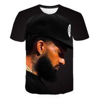 erkek yaz şortları toptan satış-Nipsey Hussle Yaz Erkek Tişörtleri 3D Dijital Baskılı Kısa Kollu Marka Rapçi Erkek O-Boyun Tişörtleri Gençler Giysi Tasarımcısı
