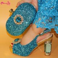 zapatos de tacón alto bolso partido al por mayor-Zapatos italianos elegantes con bolsa para combinar Conjunto de gran tamaño 38-42 Zapatos de tacones altos africanos de alta calidad y conjunto de bolsa para fiesta