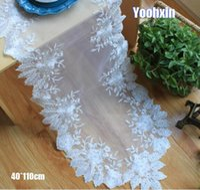 toalhas de pano de mesa de café venda por atacado-Hot Modern branco Bordado cama Mesa Runner pano de mesa de jantar de renda café toalha de mesa doilies festa de casamento decoração