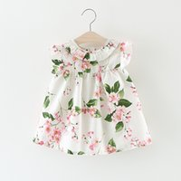 ingrosso 18 mesi abito blu delle ragazze-Baby Girl Clothes Dress Floral Flowers For Kids Bambini Ruffle Frock Sleeveless Summer Infant 6 12 18 24 mesi Toddler Casual Y19061101