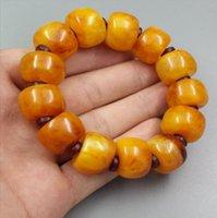 ingrosso cera d'api gialla-Prezzo all'ingrosso cera d'api collana barile bead braccialetto universale olio di pollo braccialetto giallo ambra all'ingrosso